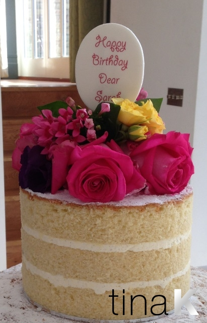Trimmed Naked Cake With Fresh Flowers